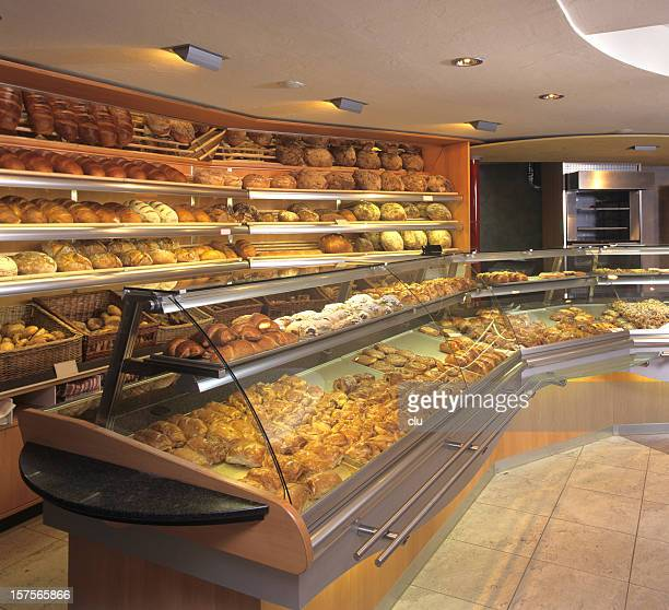 New bakery store indoor showing fresh baking goods