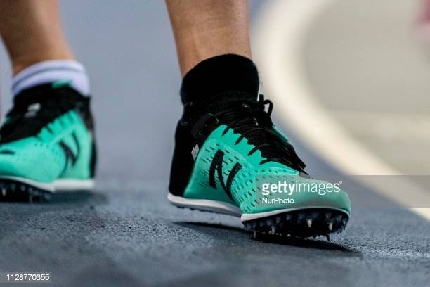 New Balance Athlete's shoes competing in the 800m Men event during day ONE of the European Athletics Indoor Championships 2019 at Emirates Arena in...