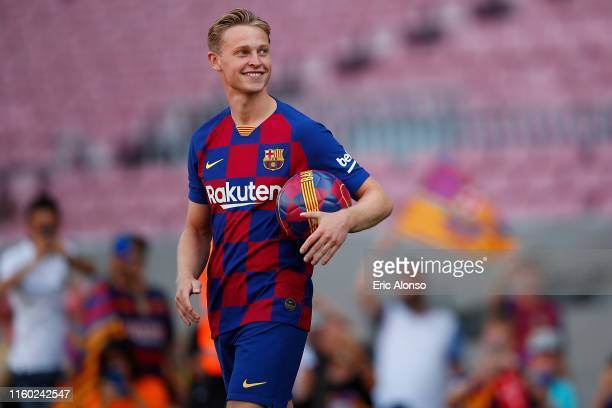 New Barcelona signing Frenkie de Jong walks onto pitch as he is unveiled at Camp Nou stadium on July 05 2019 in Barcelona Spain