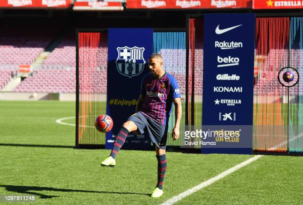 New Barcelona signing KevinPrince Boateng juggles the ball as he is unveiled at Nou Camp on January 22 2019 in Barcelona Spain