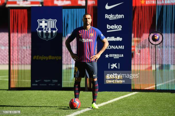 New Barcelona signing KevinPrince Boateng poses as he is unveiled at Nou Camp on January 22 2019 in Barcelona Spain