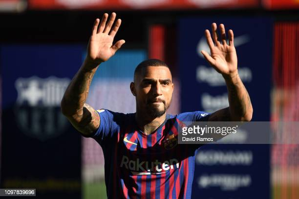 New Barcelona signing KevinPrince Boateng waves to fans as he is unveiled at Nou Camp on January 22 2019 in Barcelona Spain