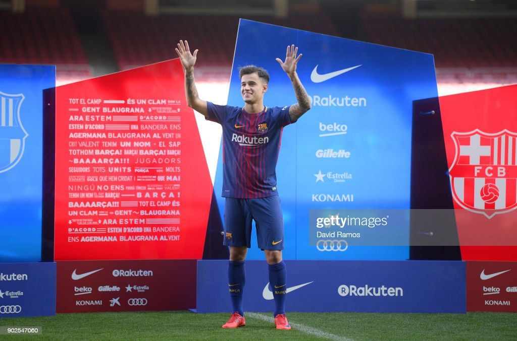 New Barcelona signing Philippe Coutinho is unveiled at Camp Nou on January 8, 2018 in Barcelona, Spain. The Brazilian player signed from Liverpool, has agreed a deal with the Catalan club until 2023 season.