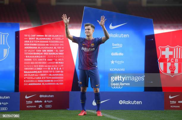 New Barcelona signing Philippe Coutinho is unveiled at Camp Nou on January 8 2018 in Barcelona Spain The Brazilian player signed from Liverpool has...
