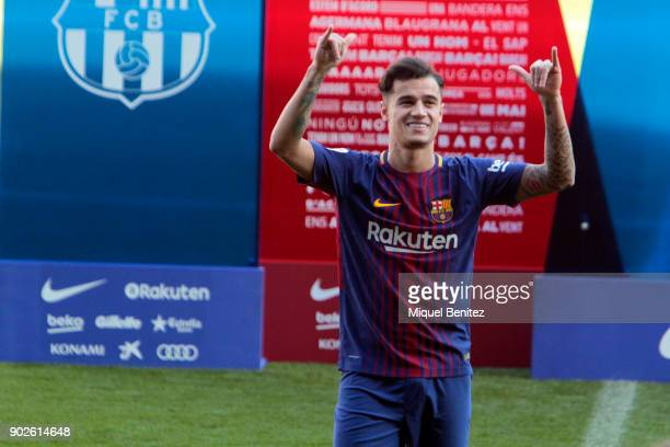New Barcelona signing Philippe Coutinho is unveiled at the Camp Nou on January 8 2018 in Barcelona Spain The Brazilian player signed from Liverpool...