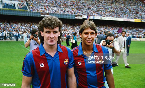 New Barcelona signings Mark Hughes and Gary Lineker pictured at the Nou Camp stadium in 1986 in Barcelona Spain