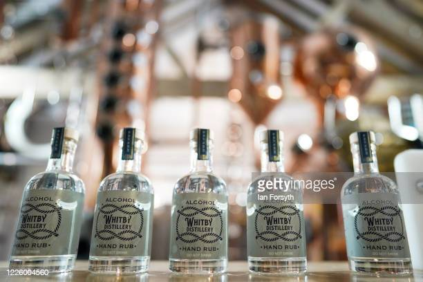 New batch of sanitising hand rub is made ready for distribution at the Whitby Gin distillery on May 20, 2020 in York, United Kingdom. The North...