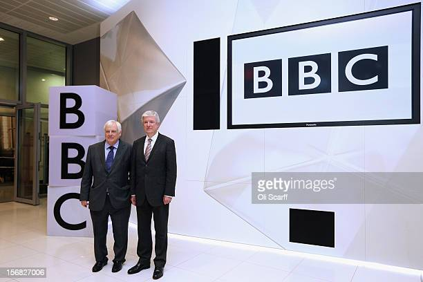 New BBC Director General Lord Hall poses with BBC Trust chairman Lord Patten in Broadcasting House on November 22 2012 in London England Lord Hall...