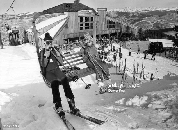 New Beaver Creek Ski Area is Officially Opened Sunday Scott and Heather Lamm children of Gov and Mrs Dick Lamm arrive at the top of the life Spruce...