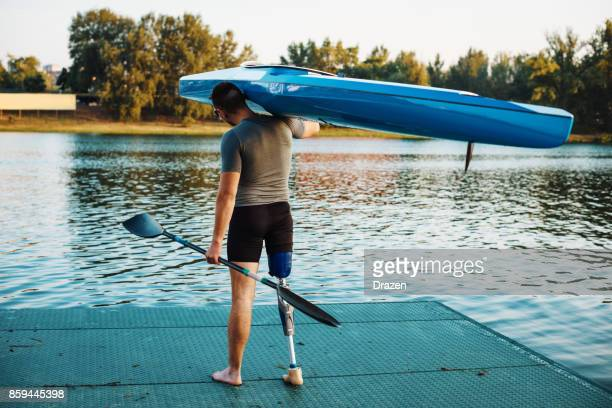 new beginnings for amputee athlete - artificial limb stock photos and pictures