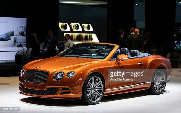 New Bentley Continental GT Speed is seen during a media preview of the 2014 New York International Auto Show in New York United States on April 16...