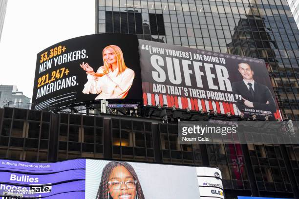 New billboard by The Lincoln Project depicts Ivanka Trump presenting the number of New Yorkers and Americans who have died due to COVID-19 and Jared...