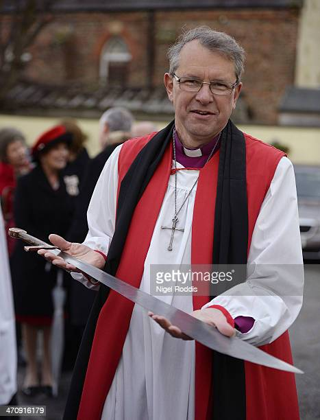 New Bishop of Durham Bishop Paul Butler poses with a falchion presented to him as part of the traditional welcome to the Diocese on Croft Bridge on...