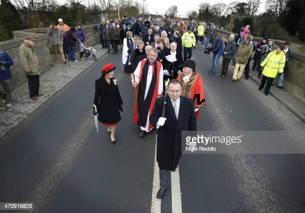 New Bishop of Durham Bishop Paul Butler walks with the Mayor of Darlington Councillor Charles Johnson after taking part in the traditional welcome to...