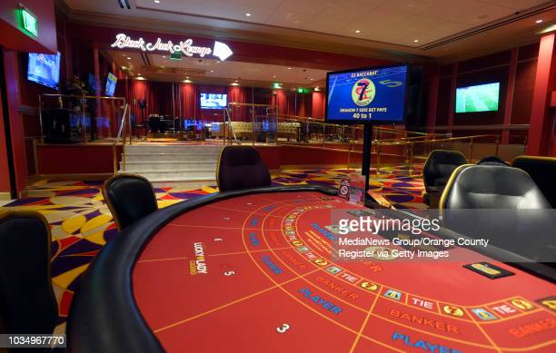 New black jack lounge is adjacent to new baccarat tables at Larry Flynt's Lucky Lady Casino in Gardena, CA on Thursday, March 16, 2017.The casino,...