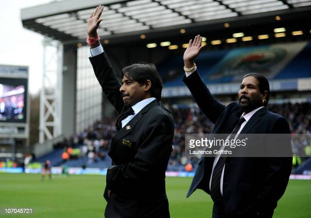 New Blackburn Rovers owners Balaji and Venkatesh Rao are introduced to the fans prior to the Barclays Premier League match between Blackburn Rovers...