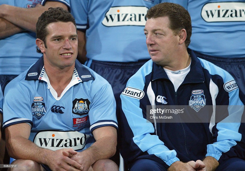 New Blues captain Danny Buderus talks with coach Phil Gould during the NSW Blues, State Of Origin training held at the Sydney Cricket Ground, May 17, 2004 in Sydney, Australia.
