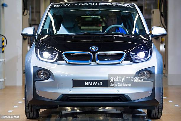 New BMW i3 electric car is seen on the assembly line at the BMW factory on September 18, 2013 in Leipzig, Germany. The i3 is BMW's first mass market...