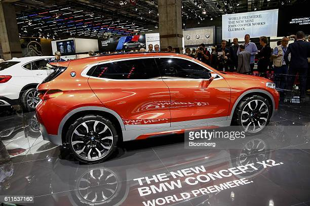 New BMW X2 concept electric automobile, manufactured by Bayerische Motoren Werke AG, sits on display during the second press day of the Paris Motor...