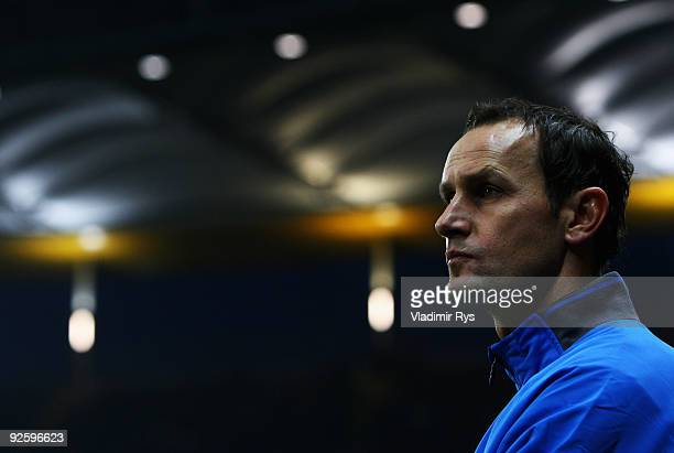 New Bochum head coach Heiko Herrlich looks on ahead of the Bundesliga match between Eintracht Frankfurt and VfL Bochum at Commerzbank Arena on...