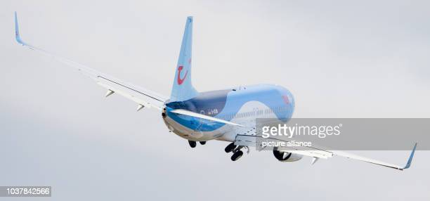 New Boeing 737-800 aircraft of the airline TuiFly flies over the airport in Hanover, Germany, 17 February 2014. TuiFly aircrafts will be painted blue...