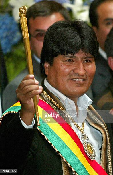 New Bolivian president Evo Morales shows the staff as Captain General of the Bolivian Army in the Govermental Palace January 22 2006 Radical...