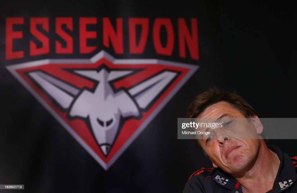 New Bombers coach Mark Thompson looks ahead during an Essendon Bombers AFL press conference at Windy Hill on October 10, 2013 in Melbourne, Australia.
