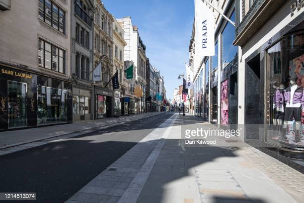 New Bond Street stands empty with shops closed on March 24 2020 in London England British Prime Minister Boris Johnson announced strict lockdown...