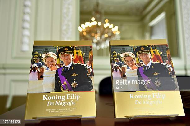 A new book on Belgium's King Philippe sits on a table at its presentation on September 4 2013 in Brussels