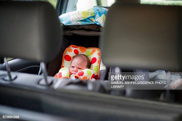New born baby in a car seat