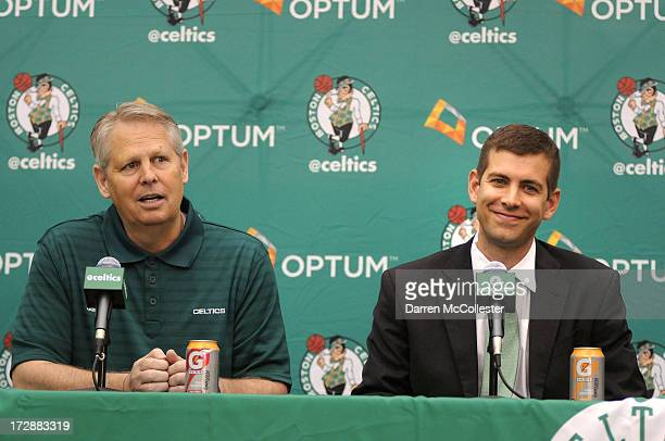 New Boston Celtics head coach Brad Stevens is introduced to the media by President of Basketball Operations Danny Ainge July 5, 2013 in Waltham,...