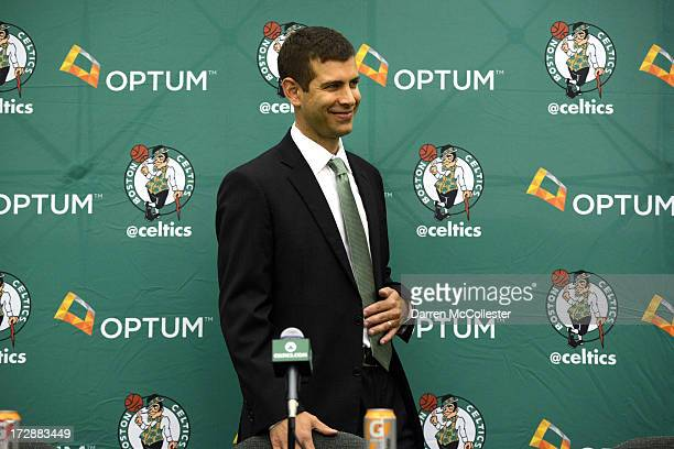 New Boston Celtics head coach Brad Stevens is introduced to the media July 5 2013 in Waltham Massachusetts Stevens was hired away from Butler...