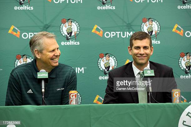New Boston Celtics head coach Brad Stevens is introduced to the media by President of Basketball Operations Danny Ainge July 5 2013 in Waltham...