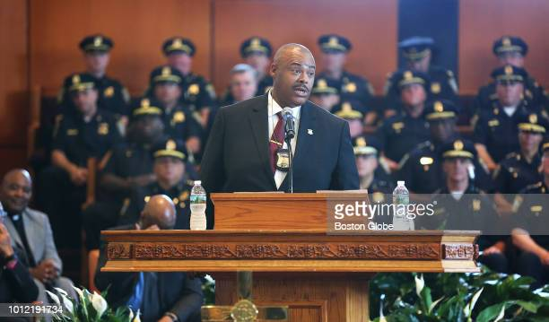 New Boston Police Commissioner William G Gross addresses the crowd at the Morning Star Baptist Church in the Mattapan neighborhood of Boston after he...