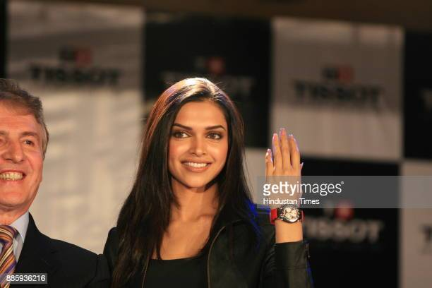 New brand ambassador of Tissot Actress Deepika Padukone along with Francois Thiebaud during a press conference in New Delhi