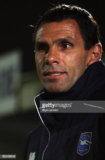 New Brighton and Hove Albion Manager Gus Poyet looks on at the FA Cup 1st Round Replay between Brighton Hove Albion and Wycombe Wanderers at Withdean...