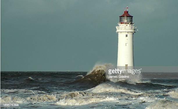 New Brighton lighthouse winter storm