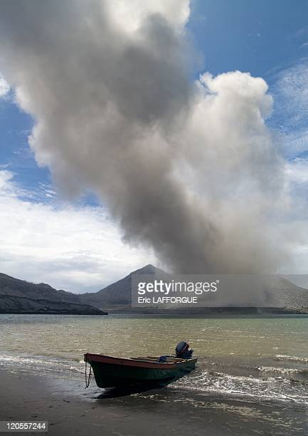 New Britain Papua New Guinea on September 30 2009 An eruption of the Rabaul Tavurvur volcano in 1994 destroyed everything around The airport is now...