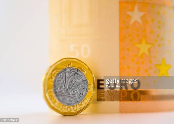 New British One Pound Coin and a 50 Euro Bank Note