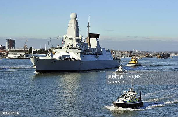 New British Royal Navy destroyer HMS Daring the first of the Royal Navy's new Type 45 destroyers leaves the southern English harbour of Portsmouth on...