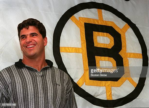 New Bruins player Kevin Stevens appears to be happy to be coming home at the press conference at the Fleet Center in Boston Aug 2 1995
