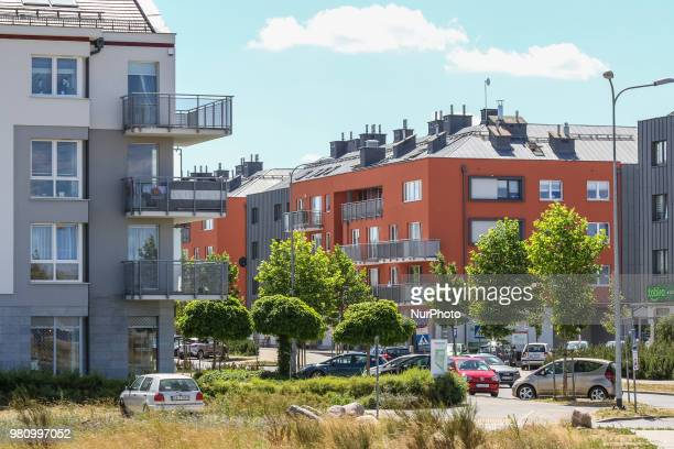 New buildings blocks of flats are seen in residental area of Gdynia Poland on 20 June 2018 Builders in Poland completed 69 percent more homes in the...