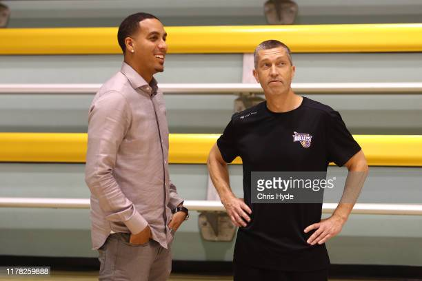 New Bullets owner and former NBA player Kevin Martin and Coach Andrej Lemanis during a Brisbane Bullets NBL media opportunity at QSAC on October 01...