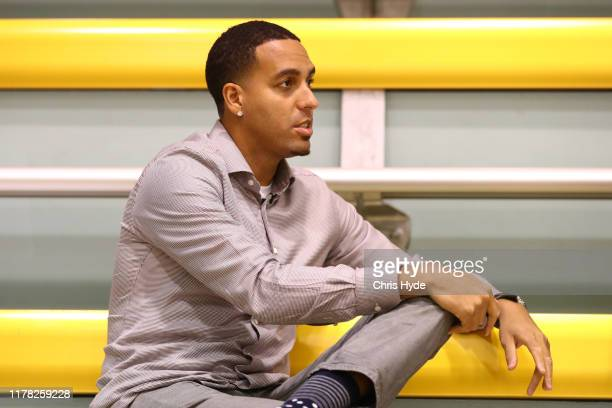 New Bullets owner and former NBA player Kevin Martin looks on during a Brisbane Bullets NBL training session at QSAC on October 01 2019 in Brisbane...