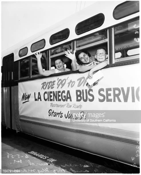New bus schedule 5 June 1958 David Mickey Rosner 9 yearsRosalind WymanMrs Helen RosnerCaption slip reads 'Photographer Snow Date Reporter Thackrey...
