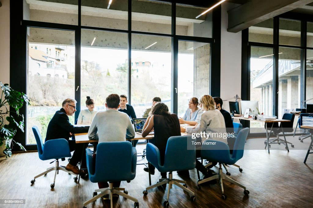 New business meeting on a conference table : Stock-Foto