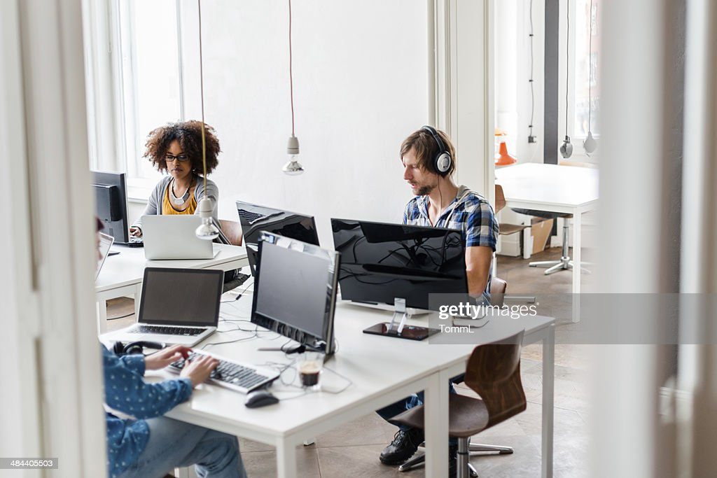 New Business People Working In Cool Office Space : Stock Photo