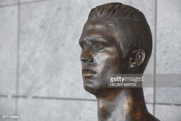 A new bust representing Portuguese footballer Cristiano Ronaldo is pictured at Cristiano Ronaldo International Airport in Funchal on Madeira island...