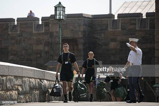 New cadets make their way across campus during the inprocessing procedures during Reception Day at the United States Military Academy at West Point...