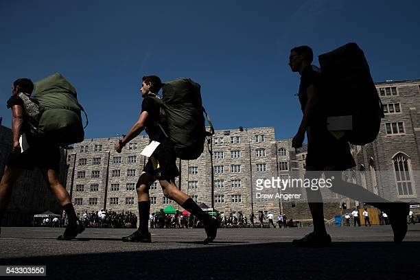 New cadets march in a courtyard on campus during Reception Day at the United States Military Academy at West Point June 27 2016 in West Point New...